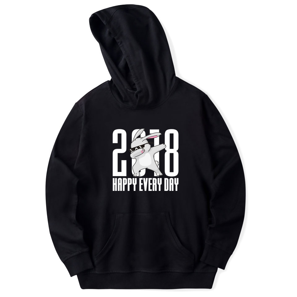 2018 Happy Every Day Funny Animal Spring Anime Men Sweatshirts Hoodie Harajuku Casual Hoodie Men/Women Clothes 4XL