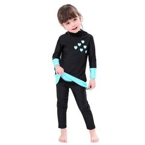 Image 4 - Girls Muslim Swimwears Islamic Burkinis Children Swimsuits Arab Islam Beach Wear Swimming Diving Suits Two piece Long Sleeve
