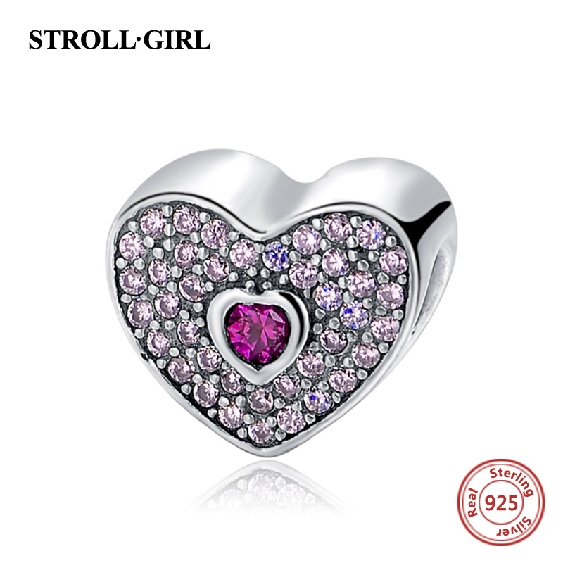 Fit Authentic pandora Charms Silver 925 Original Heart Shape Love Beads Bangles Pendant Antique Fashion Jewelry Mom Gifts