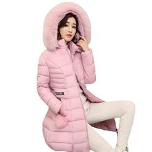 Длинные теплые 2017 женщин зимняя куртка одноцветное Большие размеры 3XL casacos de Inverno feminino меховой воротник с капюшоном Женский Пальто Куртка