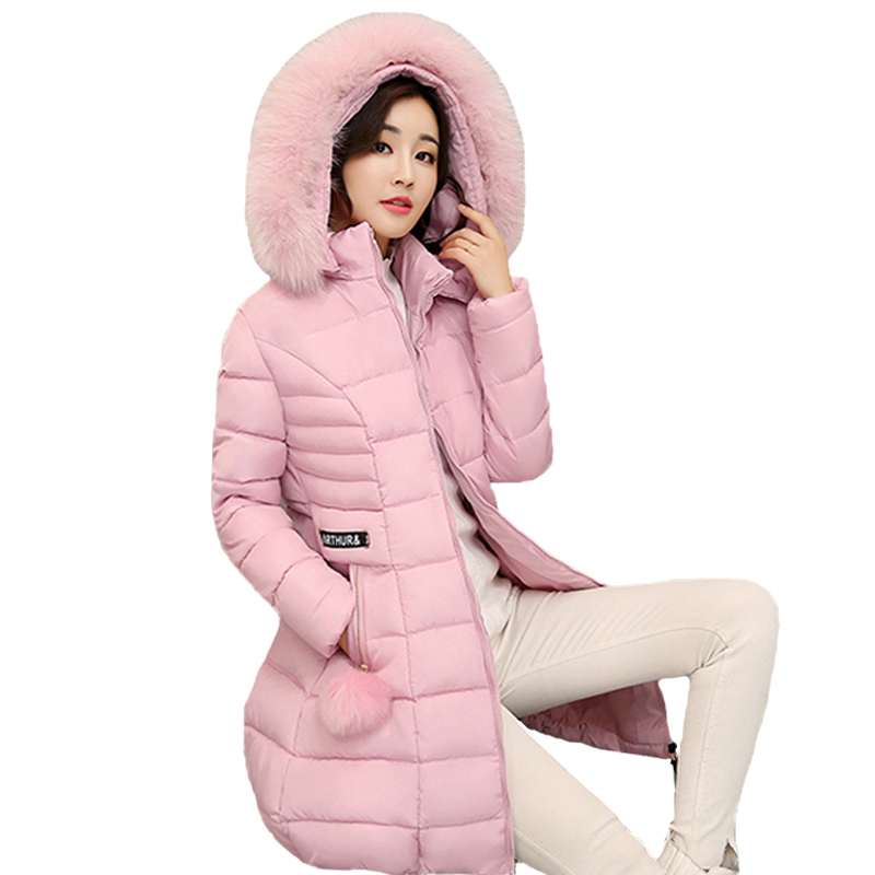 Long warm thicken 2018 women winter jacket solid big size 3XL casacos de inverno feminino fur collar hooded female coat parka hooded long printing casaco feminino inverno 2017 warm thicken cotton padded winter jacket women female coat parka women s