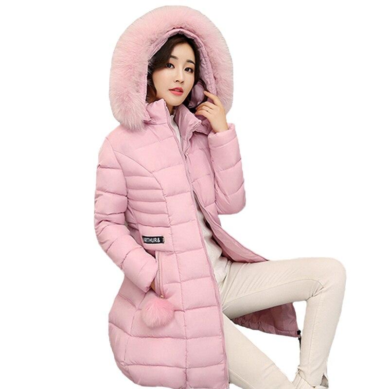 Long warm thicken 2019 women winter jacket solid big size 3XL casacos de inverno feminino fur collar hooded female coat   parka
