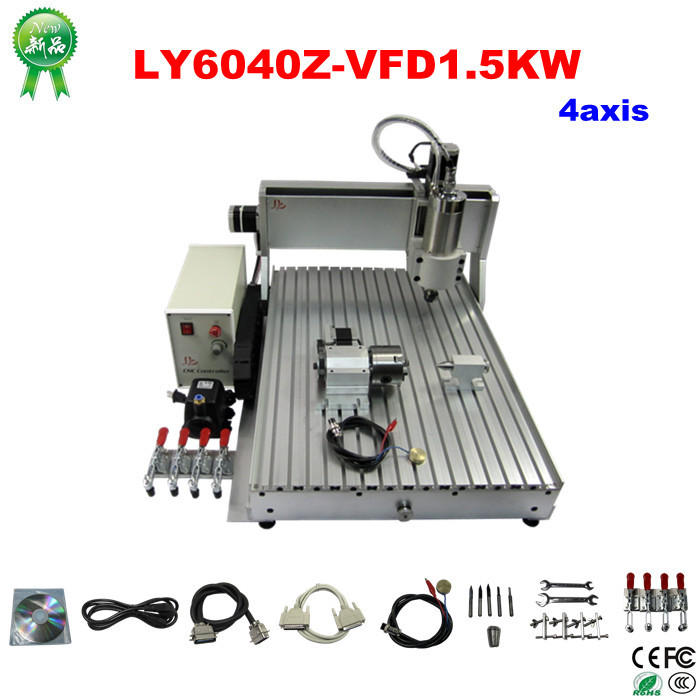 Best price ! LY 6040 CNC carving machine 1.5kw spindle 4 axis CNC milling machine for for metal stone wood cutting  цены