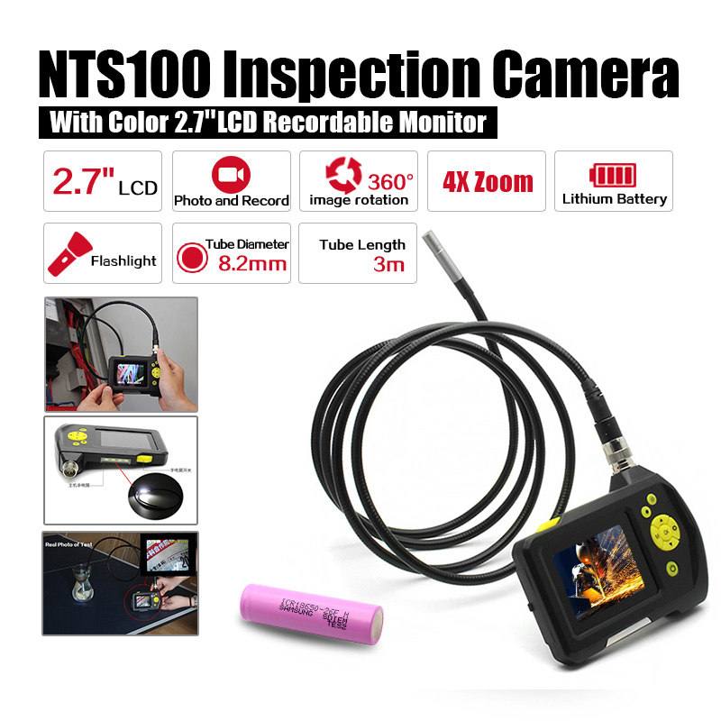 Dia 8.2mm 2.7 LCD NTS100 Endoscope Borescope 3M Snake Inspection Tube Camera DVR+Free 18650 Lithium Battery eyoyo nts100 dia 8 2mm 2 7 lcd nts100 endoscope borescope snake inspection 1m tube camera dvr