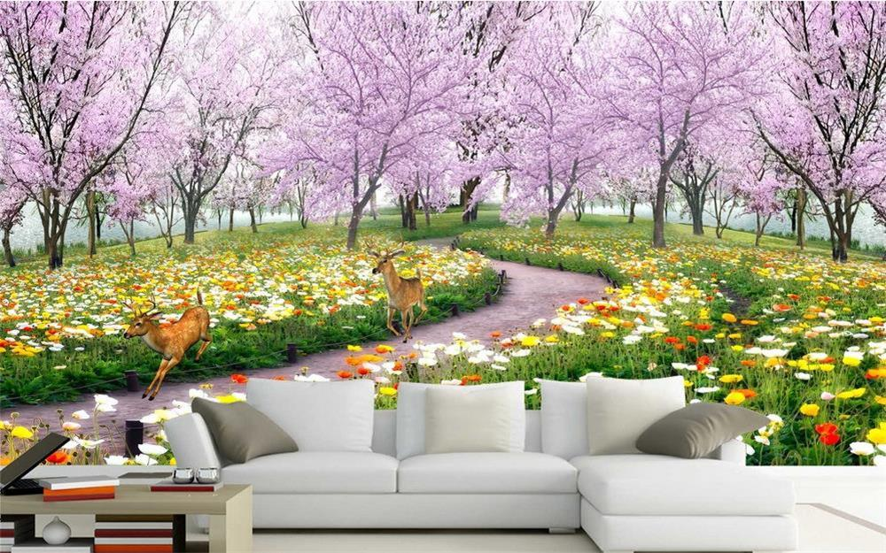 3d wallpaper custom photo hd mural beautiful cherry tree for Custom photo mural