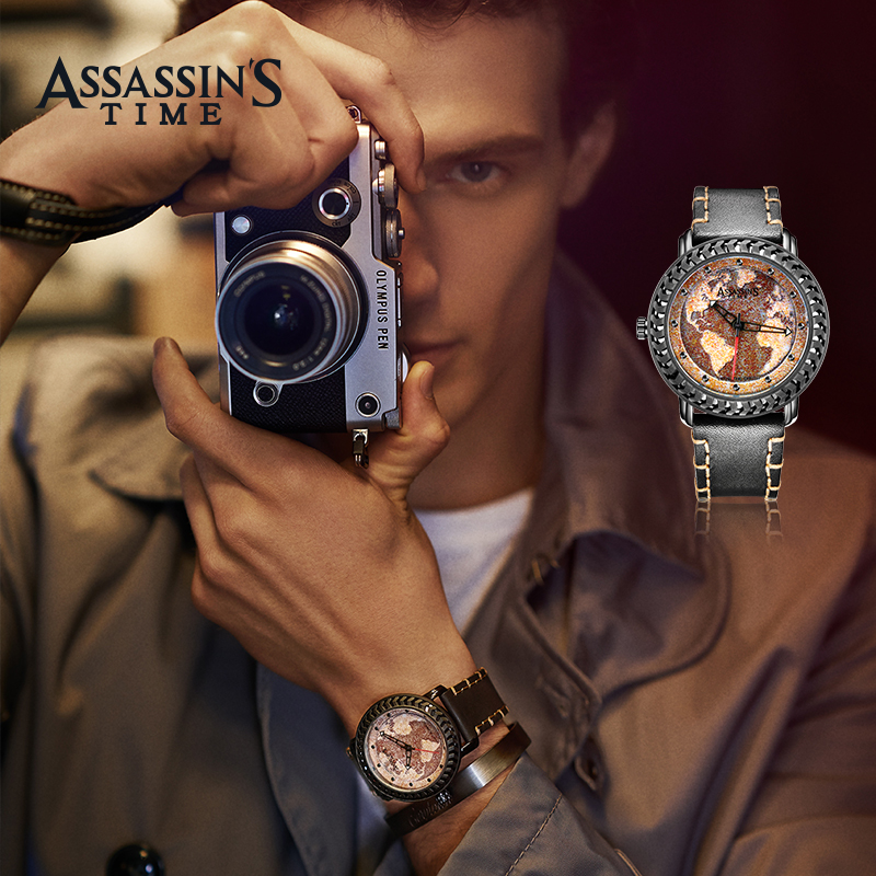 Assassin's Time Fashion Style Fashion Men Mapa Cuarzo Reloj Deportivo - Relojes para hombres - foto 3