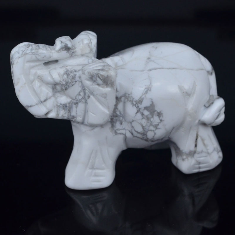 3 Inch Natural White Howlite Turquoise Crystal Elephant Carved Figurine Stone Chakra Healing Reiki Stone Feng Shui Crafts
