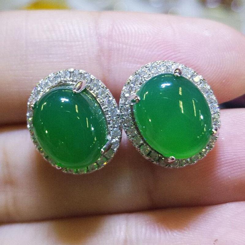 Yu Xin Yuan Fine Jewelry 925 Mosaic Natural Green Chalcedony Circular Stud Earrings