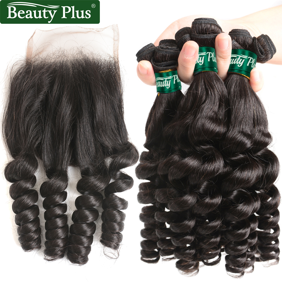 Beauty Plus Brazilian Hair Weave Bundles with Closure Funmi Curly 3 Bundles with Lace Closure Human Hair Extension non Remy