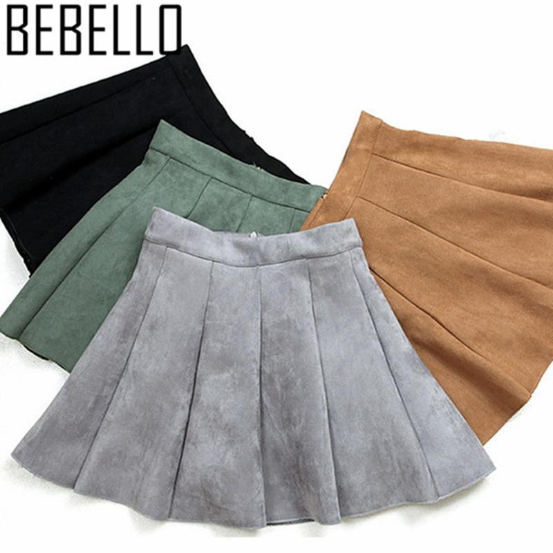 2018 Women Summer Suede Mini Pleated Skirts Gray High Wasit Girls Schlool Causal Above Knee A Line Skater Skirts XL Saia S1228