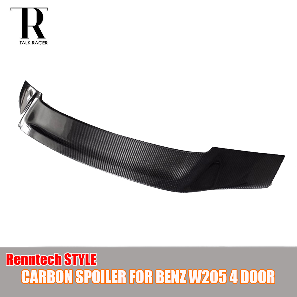 W205 Renntech Style Carbon Fiber Rear Trunk Lid Spoiler for Benz W205 C-Class Sedan C200 C300 C350 C63 AMG 2015 2016 2017