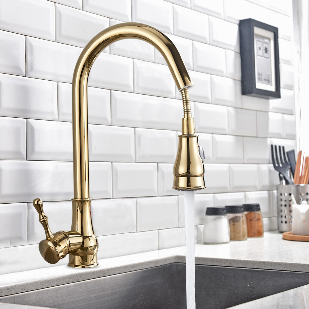 US $36.0 40% OFF|Kitchen Faucet Brass Black Bronze/Chrome/Nickel  Brushed/Gold High Arch Kitchen Sink Faucet Pull Out Rotation Spray Mixer  Tap-in ...