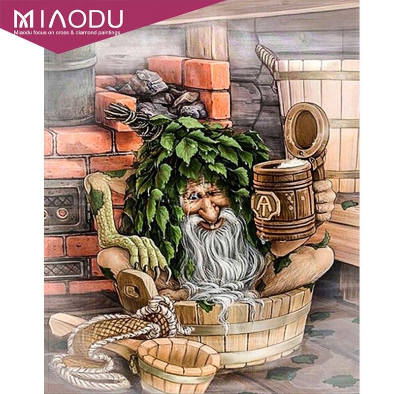 Miaodu-dessin animé de dessin animé   Diamant, monstre vieux homme bain Daimond, peintures broderie Diamant, décoration de maison, point de croix, mosaïque cadeau