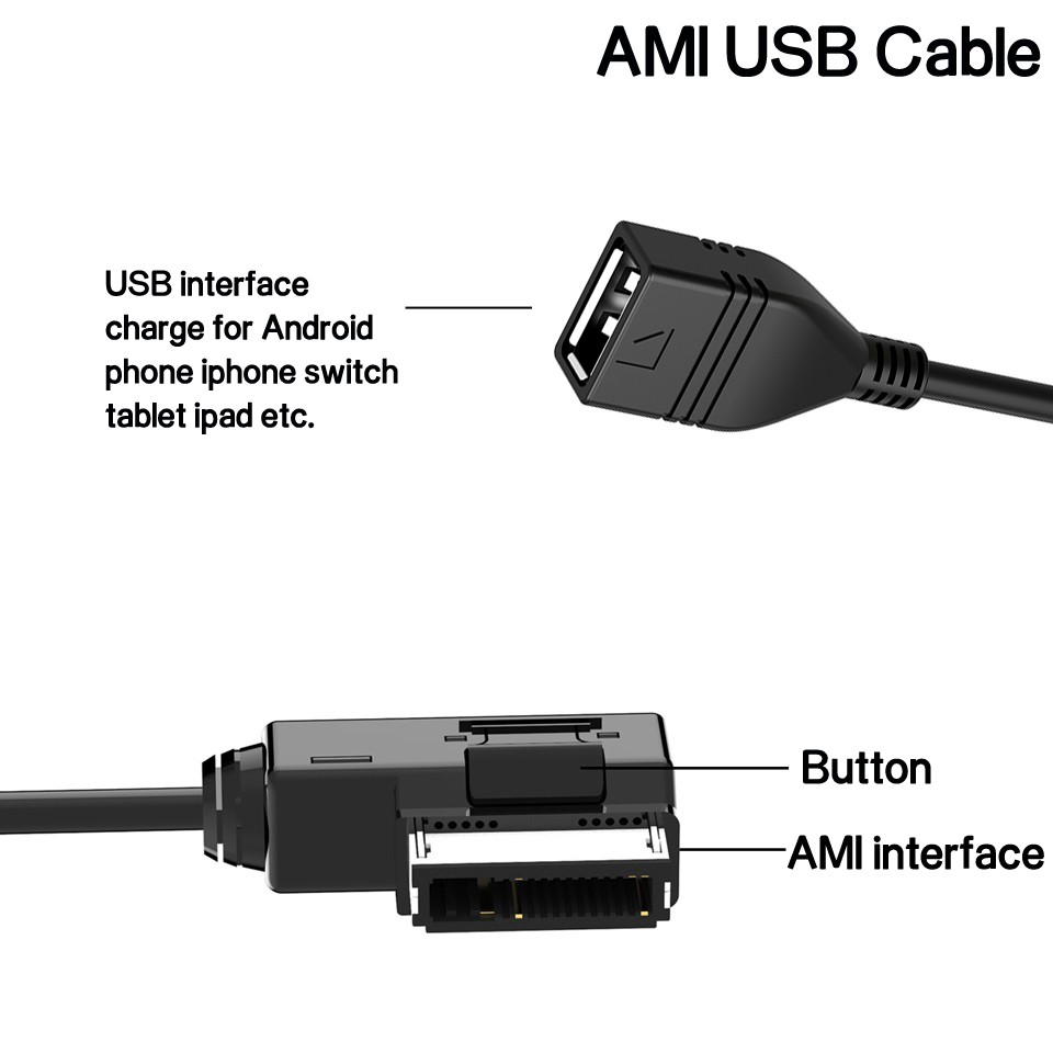 Davitu Cables Adapters /& Sockets AMI Music Interface To USB Adapter 360mm Cable For Audi A3 A4//S4 A5//S5 Q3 Q5