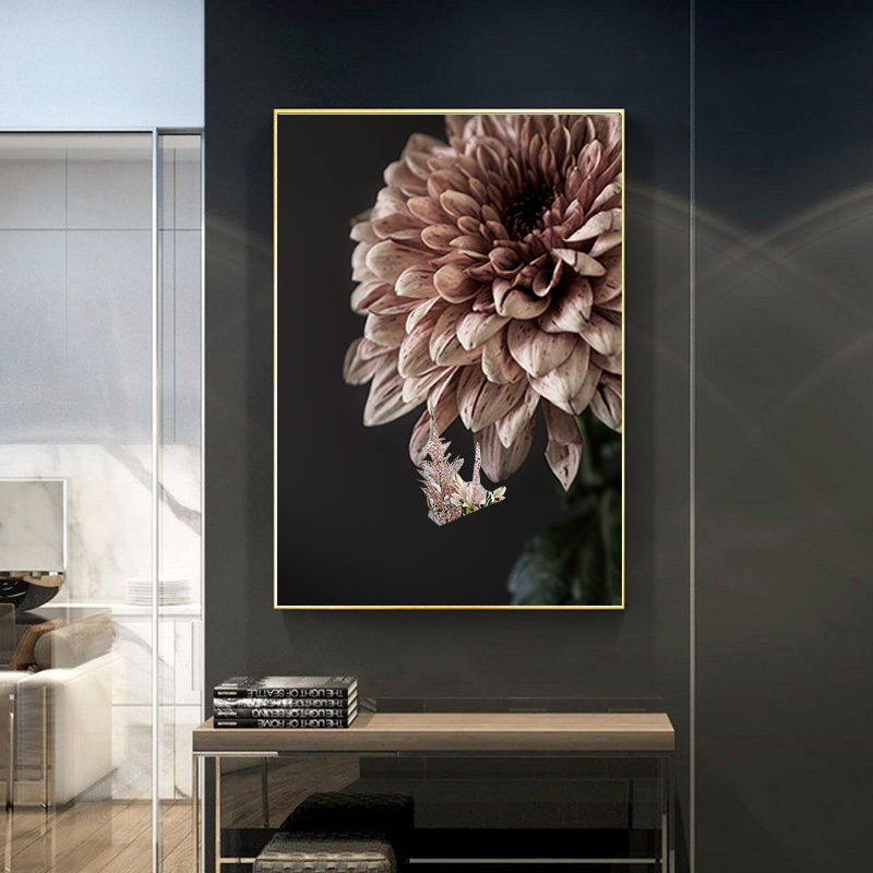 Modern Pink Dahlia Floral Canvas Paintings Print Poster Gallery  Wall Art Pictures POP Interior Bedroom Living Room Home Decor