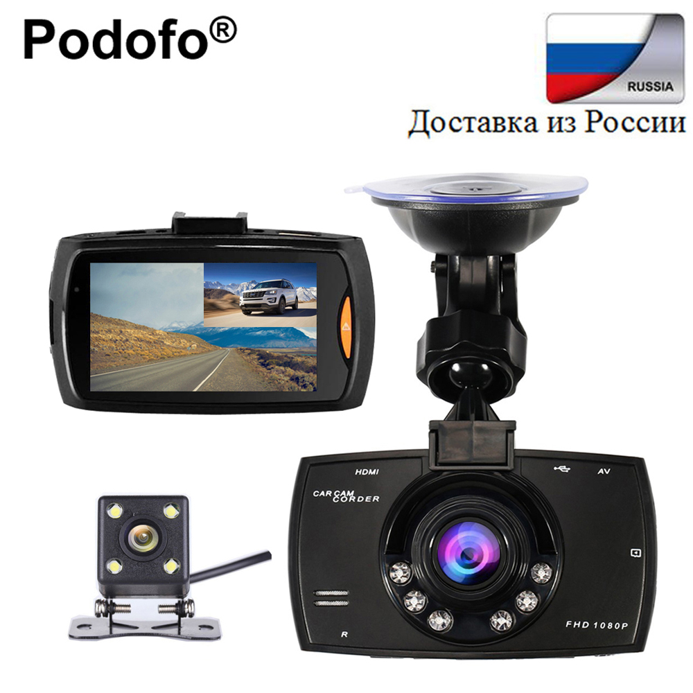 Podofo Car DVR Dual Camera G30 Video Recorder Registrator Full HD 1080P Dash Cam With Backup Rear View Camera Night Vision Dvrs