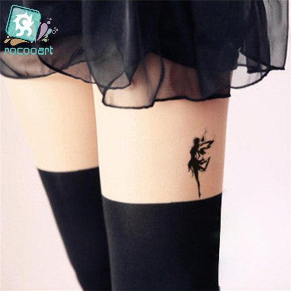 Us 067 Rocooart Hc1051 Wodoodporny Fałszywy Tatuaż Kobiety Noga Klatka Tymczasowe Naklejki Fruwające Anioł Bajki Dziewczyna Blizny Okładka Szybki