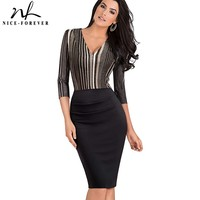 Nice Forever Vintage Striped Patchwork Sexy V Neck Casual Wear To Work Vestidos Bodycon Business Office