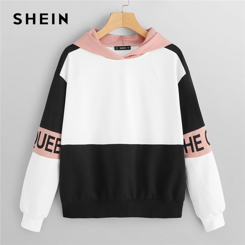 SHEIN Multicolor Elegant Color Block Letter Print Pullovers Hooded Sweatshirt 2018 Autumn Minimalist Women Sweatshirts
