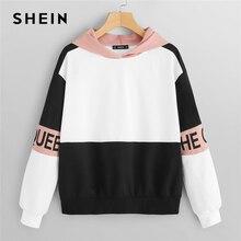 SHEIN Multicolor Elegant Color Block Letter Print Pullovers