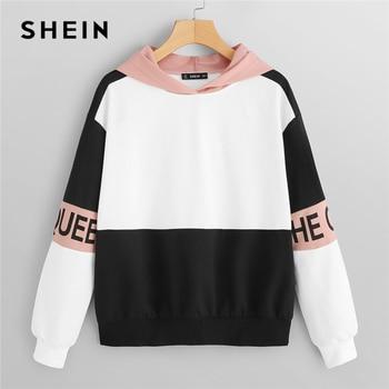 Shein Multicolor Anggun Blok Warna Huruf Cetak Pullover Berkerudung Sweatshirt 2018 Musim Gugur Minimalis Wanita Kaus