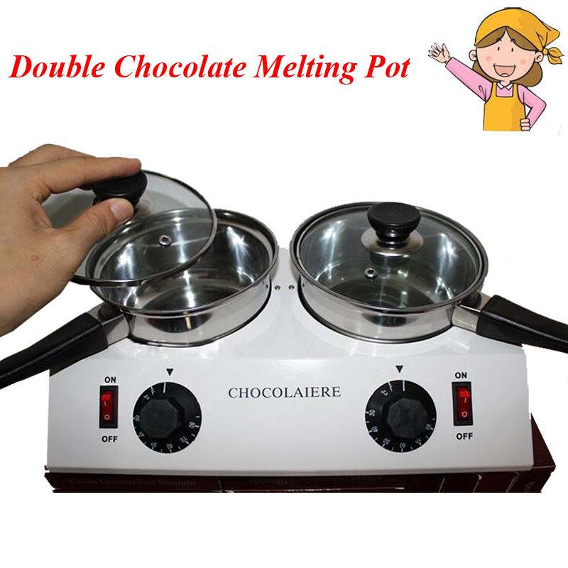 1pc Home Use 2 Pot Chocolate Melting Pot Chocolate Thermostatic Furnace Melting Machine Stainless Steel Pot single cylinder commercial chocolate melting machine fy qk 620 stainless steel chocolate melting pot 220v 1pc
