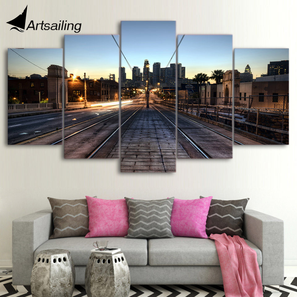 HD printed 5 piece canvas art railway los angeles dusk painting wall pictures for living room modern free shipping/UP-1527A