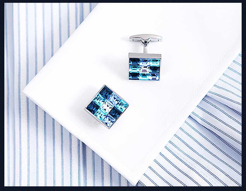 KFLK 2019 Lüks gömlek kol düğmesi mens için Marka manşet düğmeleri Degrade etkisi Kristal manşet Yüksek Kalite abotoaduras Takı