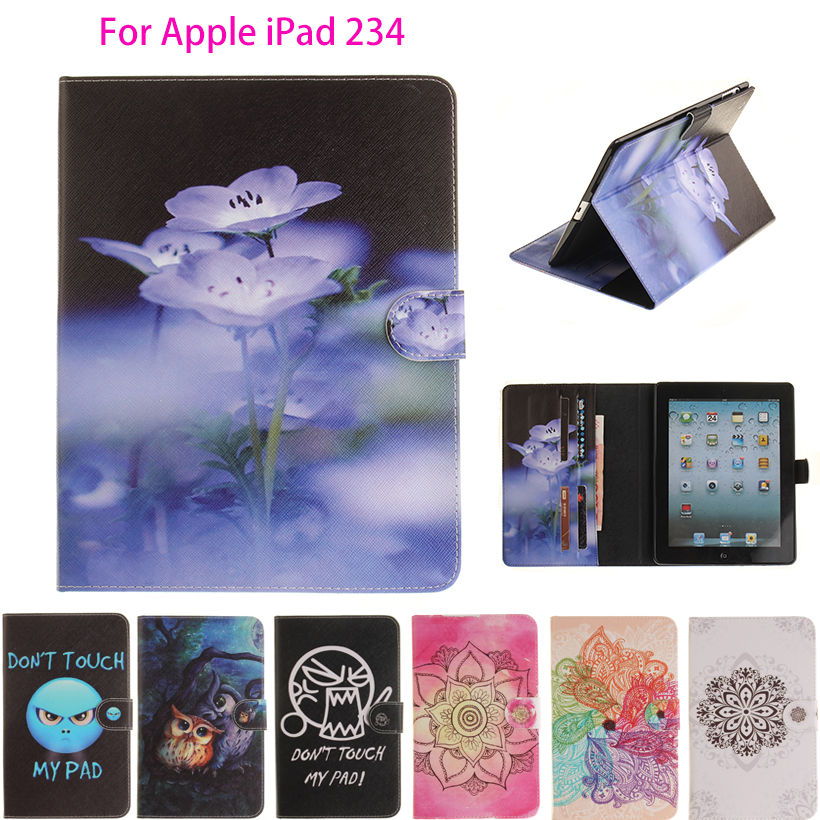 For Apple iPad 2 3 4 9.7 inch Case Cover Tablet Cartoon Print Flowers Case Soft TPU+PU Leather Skin Stand Protector Shell Funda cartoon painted flower owl for kindle paperwhite 1 2 3 case flip bracket stand pu cover for amazon kindle paperwhite 1 2 3 case
