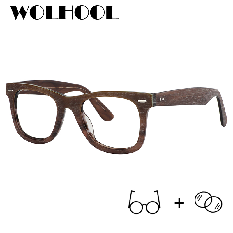 WOLHOOL Acetate Prescription Glasses Men Square Anti Blue Light Optical Wood