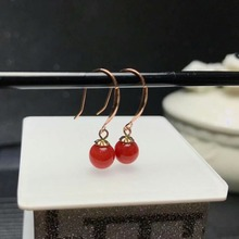shilovem 18k rose gold Natural red coral drop earrings fine Jewelry wedding trendy plant gift Christmas new myme7-8sh