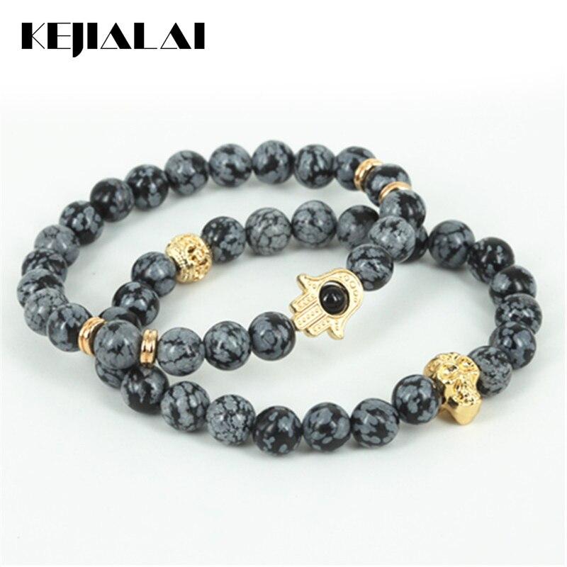 Jewelry & Accessories Cooperative Kejialai 2pcs Natural Snowflak Round Stone Beads Men Hamsa Hand Bracelet Beaded Gold Skull Head Charm Women Bracelet A0576