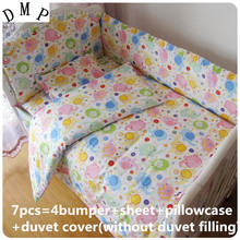 Discount! 6/7pcs Baby Bed Set Baby cotton Bedding Package Cartoon Cotton Baby Bedding Sets  ,120*60/120*70cm