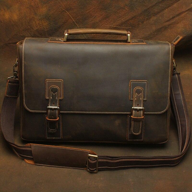 Nesitu Vintage Brown Thick Durable Genuine Crazy Horse Leather Men Briefcase Portfolio 14'' Laptop Male Messenger Bags M1052