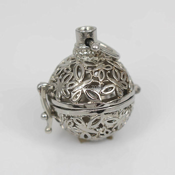 37x23mm Rhodium tone Round Chiming Ball Locket Cage Pendant Essential Oil Diffuser Hollow Filigree Butterfly Locket Findings