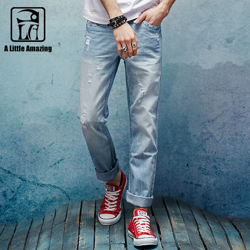 100% Cotton Denim Mens Jeans 2017 Autumn New Arrival Slim Straight Distressed Jeans Ripped Destroyed Casual Ink Design Pants