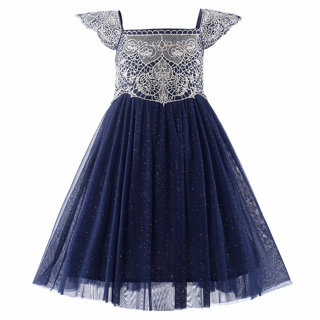 b6b6b8266d5cb US $16.19 49% OFF|Cutestyles Navy Blue Flower Girl Dresses Wedding Dresses  For kids Golden Embroidery Girls Party Dresses-in Dresses from Mother & ...