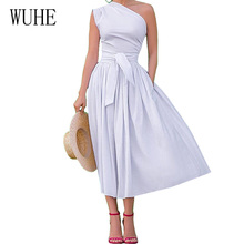 WUHE White Sexy One-shoulder Sleeveless Dress Summer Women Casual High Street Loose Pleated Lady Party Night Club