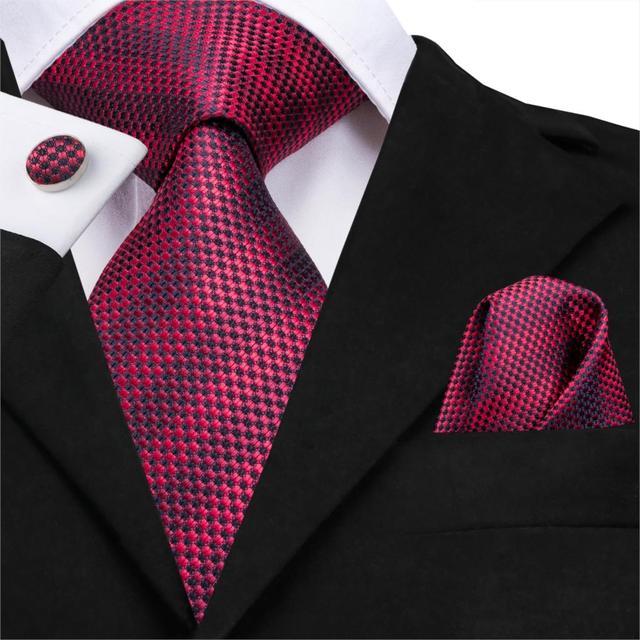 C-3122 Hi-Tie Luxury Silk Men Tie Striped Wine Red Necktie Handkerchief Cufflinks Set Fashion Men's Party Wedding Tie Set 8.5cm