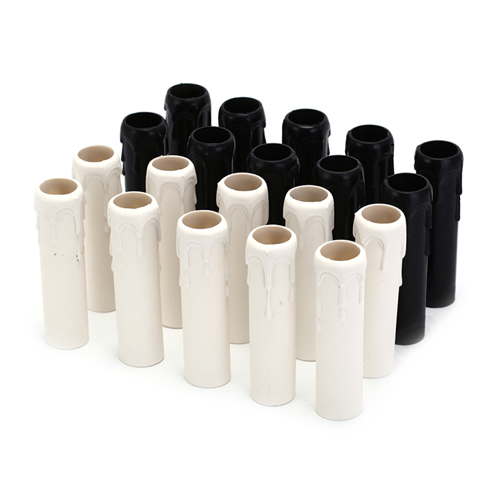 10Pcs/Lot Table Lamp Base Candle Lamp Holder 25*100 Black White Sleeve Candle Bulb Base Cover Chandelier Part Candle Tube