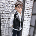 2016 autumn spring boys vest baby turn down collar PU black jacket toddler faux fur fashion single breasted casual clothes 1-5T