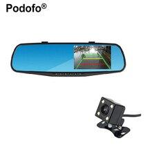 Podofo 4.3 inch IPS Screen Car Rearview Mirror Full HD 1080P Car Camera Parking Night Vision Car DVR Dual Lens Video Recorder