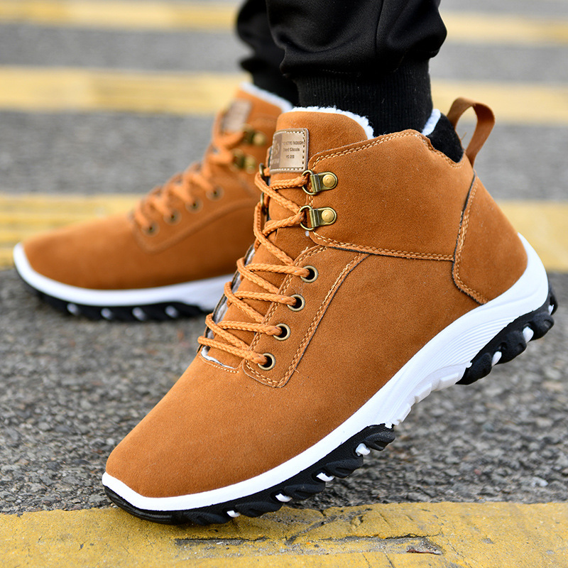 Ankle Boots Warm Men Snow Boots Winter Lace-up Men Shoes 2019 New Arrival Fashion Flock Plush Winter Boots Men Size 39-44