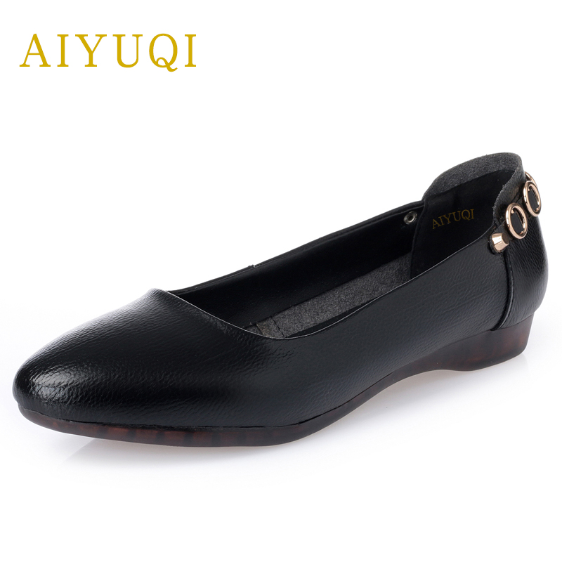 AIYUQI Big size 42 100% natural genuine leather female flat shoes, 2018 spring new ladies shoes, Comfortable nurse shoes female aiyuqi 2018 spring new genuine leather women shoes shallow mouth casual shoes plus size 41 42 43 mother shoes female page 1