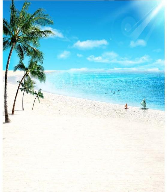 5x7ft Sole Cielo Blu Vela Mare Palma Spiaggia Di Sabbia Su