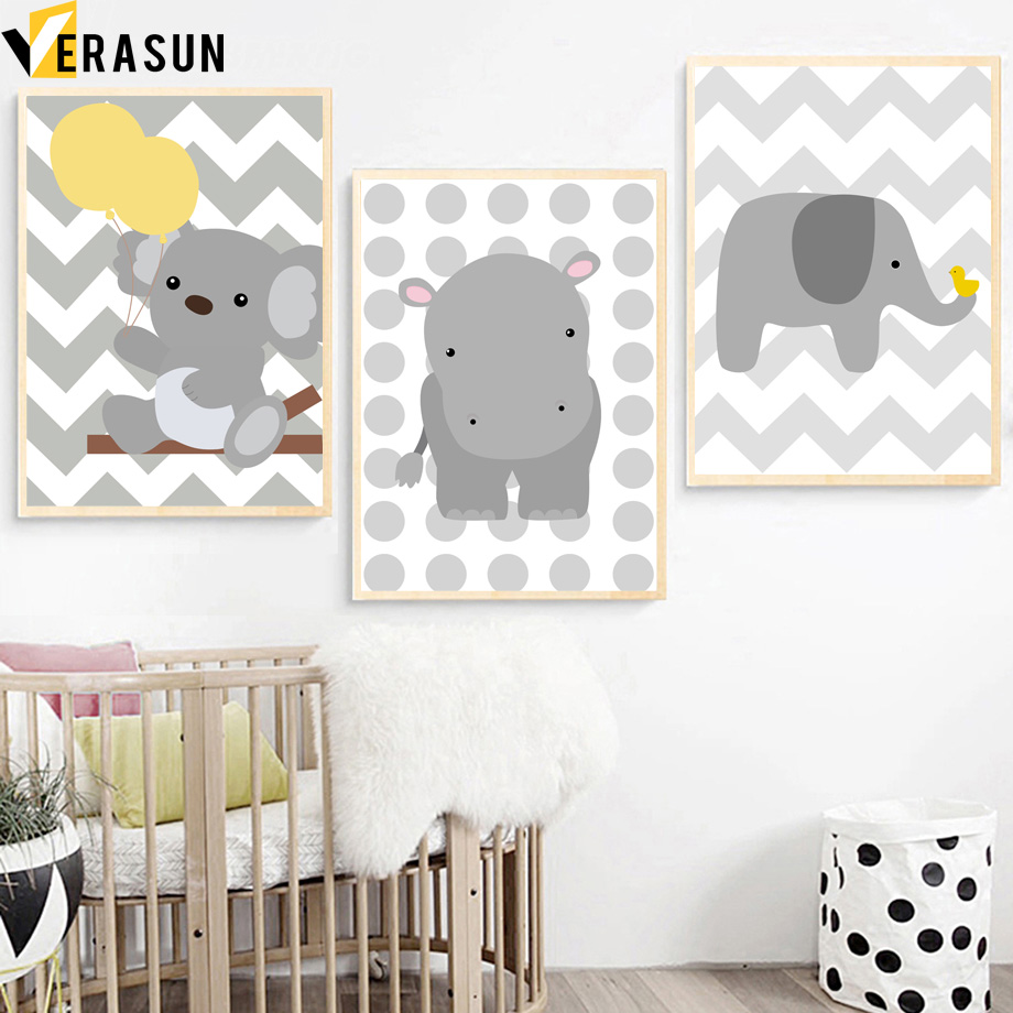 Verasun Koala Hippo Elephant Posters And Prints Wall Art Mk 6a Mcb Miniature Circuit Breaker Departments Diy At Bq Print Canvas Painting Pictures For Living Room Pop Home Decor