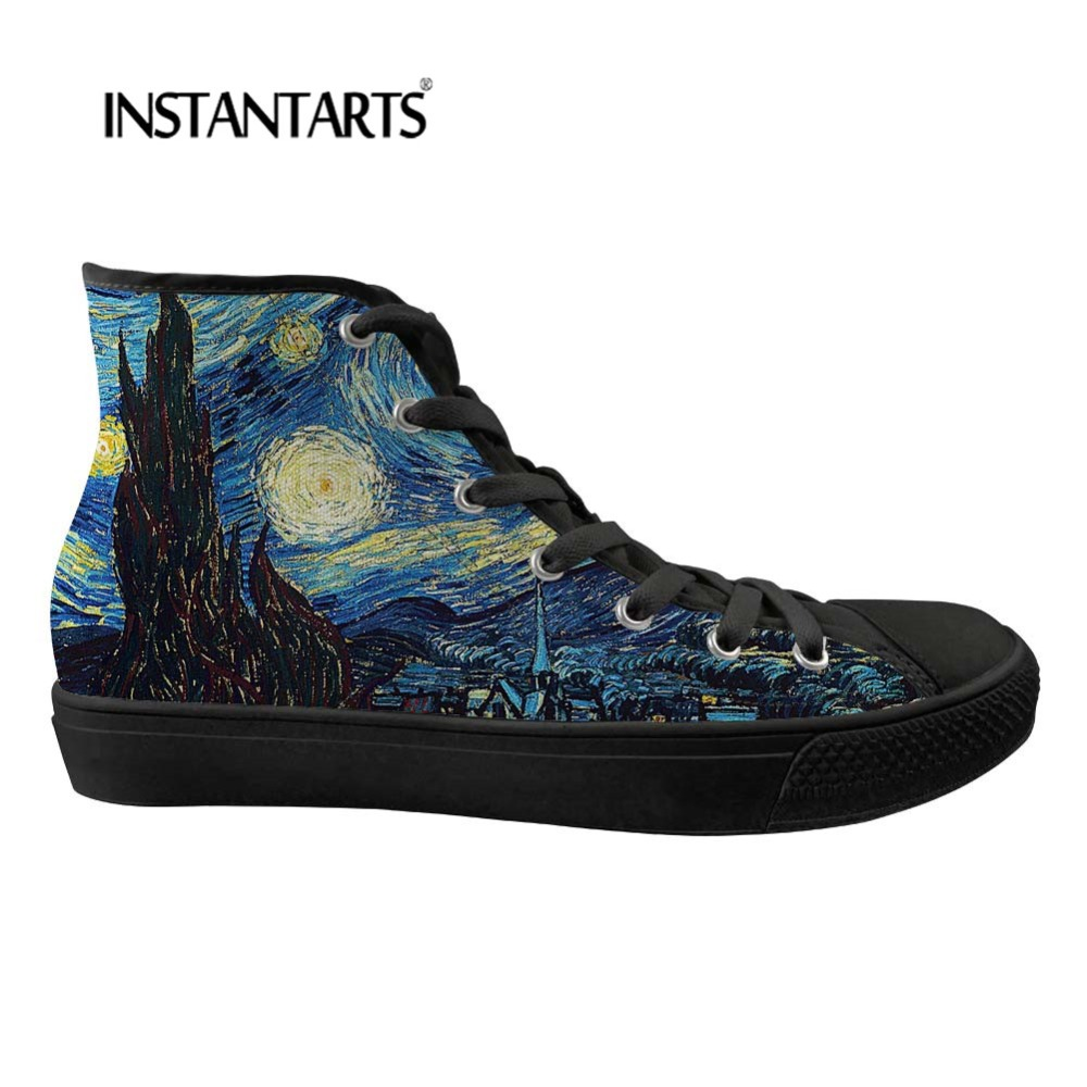 INSTANTARTS mode hommes chaussures vulcanisées nuit étoilée chaussures hautes printemps confort appartements homme toile chaussures homme baskets garçons