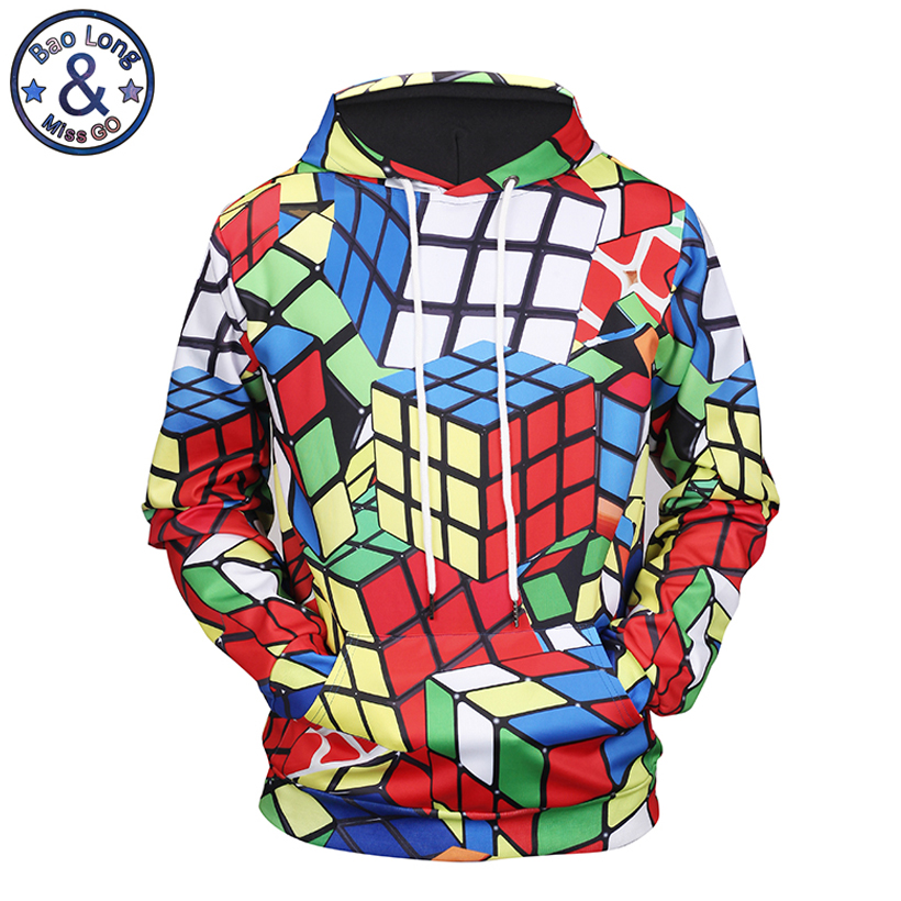 Mr BaoLong new men s brand fashion colorful Rubik s Cube 3D printed hooded hoodies funny