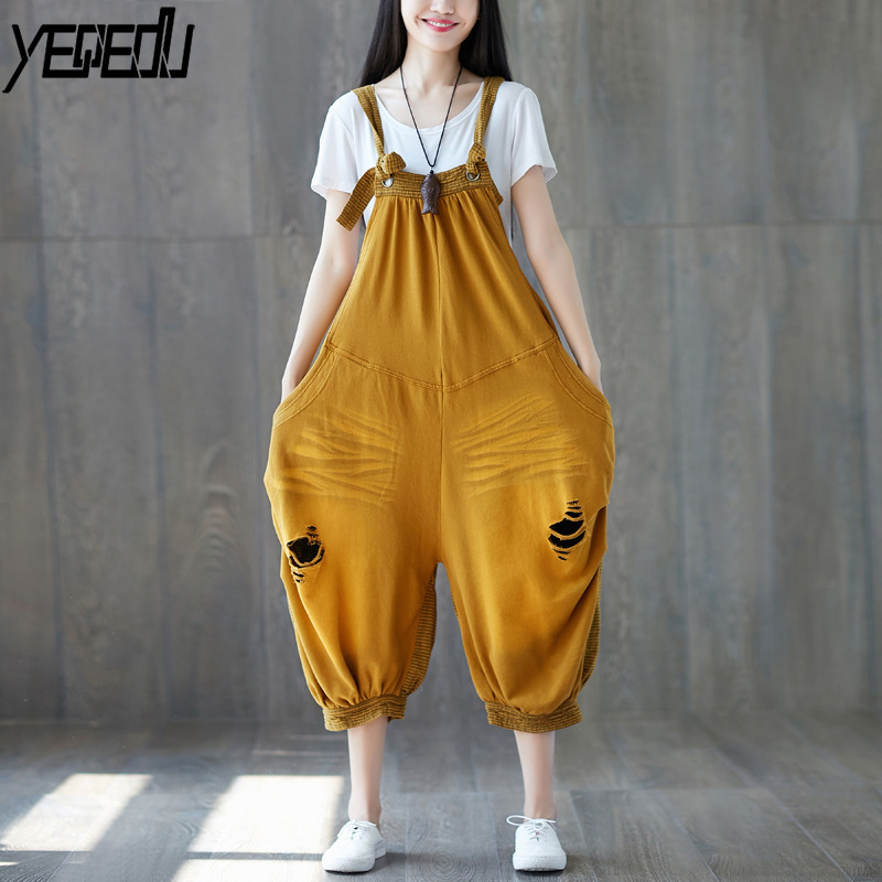 Objective #0329 Summer 2018 Adjustable Crop Hole Big Size Yellow/red Wide Leg Streetwear Vintage Ladies Jumpsuits Backless Romper Women Women's Clothing