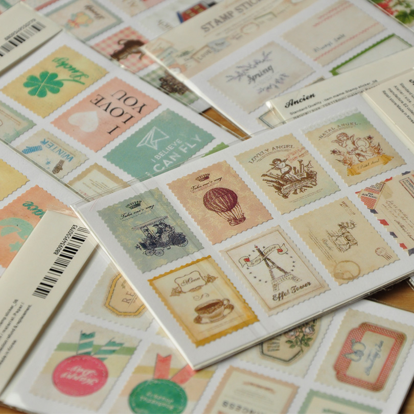 10 Bags/lot DIY Vintage Retro Classic Stamp Sticker Flowers Birds Scrapbook Paper For Decoration Free Shipping